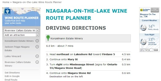 wine route planning niagara-on-the-lake